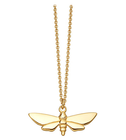 ASTLEY CLARKE Moth Biography gold-plated necklace