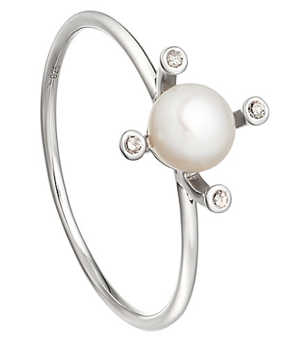 ASTLEY CLARKE White pearl pluto pearl 14ct white gold ring