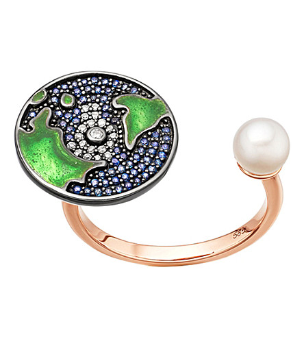 ASTLEY CLARKE Sapphire earth 14ct rose gold topen ring
