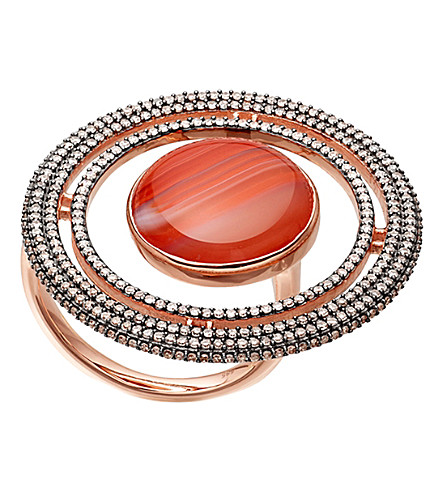 ASTLEY CLARKE Saturn 14ct rose gold, diamond and agate ring