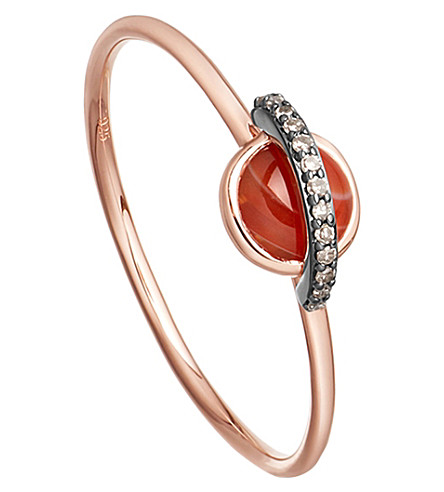 ASTLEY CLARKE Mini Saturn 14ct rose gold, agate and diamond ring
