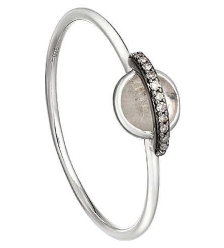 ASTLEY CLARKE Mini Saturn 14ct white gold, moonstone and diamond ring
