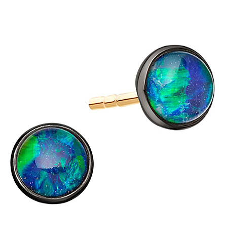 ASTLEY CLARKE Uranus 14ct yellow gold and opal stud earrings