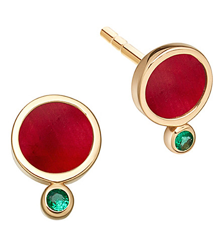 ASTLEY CLARKE Mars 14ct yellow gold, ruby and emerald stud earrings