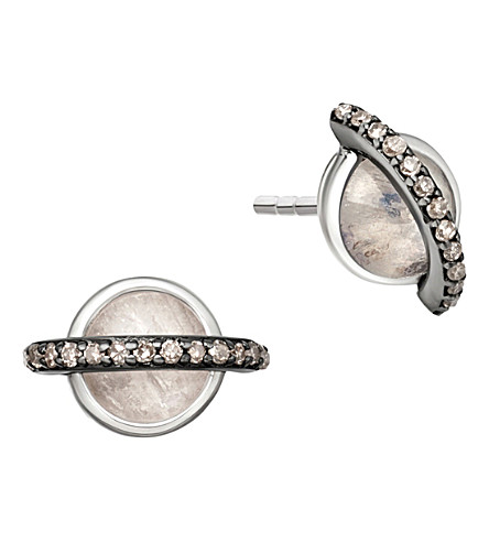 ASTLEY CLARKE Saturn 14ct white gold, diamond and moonstone stud earrings