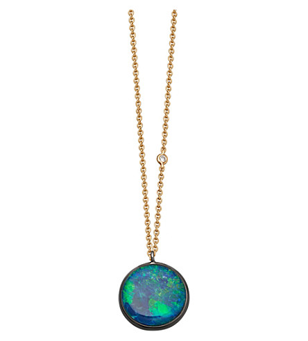 ASTLEY CLARKE Uranus 14ct yellow gold, opal and diamond necklace