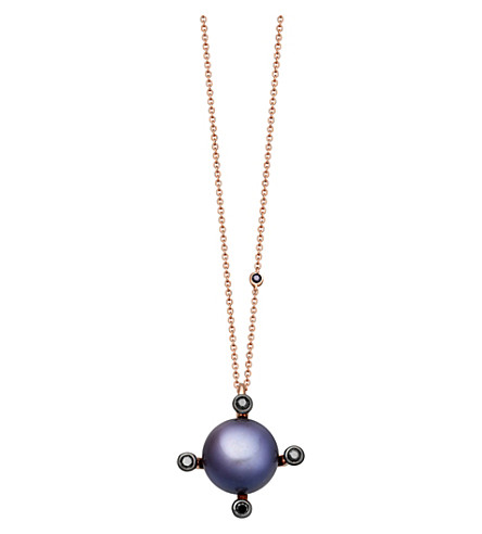 ASTLEY CLARKE Pluto 14ct rose gold, black diamond and black pearl necklace