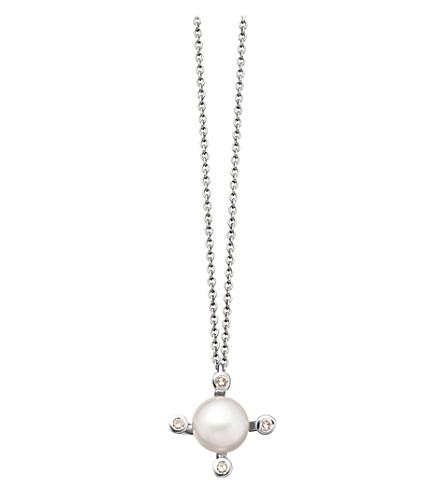 ASTLEY CLARKE Mini Pluto 14ct white gold, grey diamond and black pearl necklace