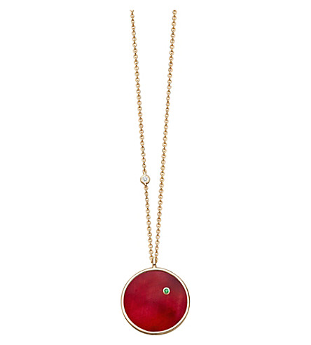 ASTLEY CLARKE Mars 14ct yellow gold, ruby and emerald necklace