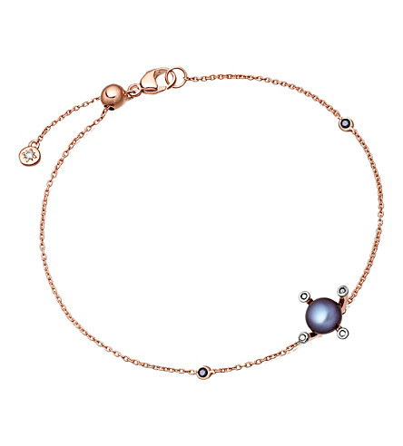 ASTLEY CLARKE Pluto 14ct rose gold, diamond and pearl bracelet