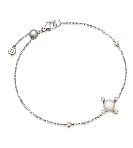 ASTLEY CLARKE Pluto 14ct white gold, diamond and pearl bracelet