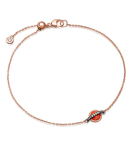 ASTLEY CLARKE Saturn 14ct rose gold, diamond and agate bracelet