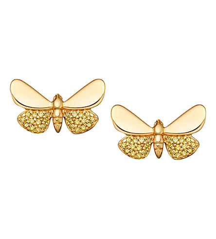 ASTLEY CLARKE Cinnabar Papillon 14ct gold and yellow diamond earrings