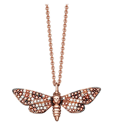 ASTLEY CLARKE Death's-Head Hawk Mini Moth 14ct rose-gold and diamond necklace