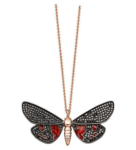 ASTLEY CLARKE Scarlet Tiger Moth 14ct rose-gold and black diamond necklace