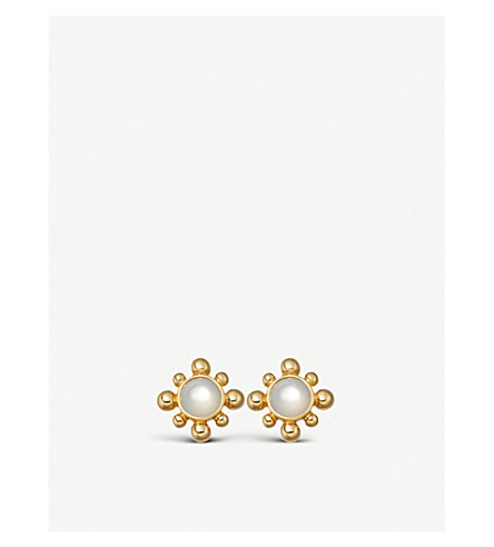 ASTLEY CLARKE 18-carat yellow gold vermeil and mother-of-pearl mini floris studs