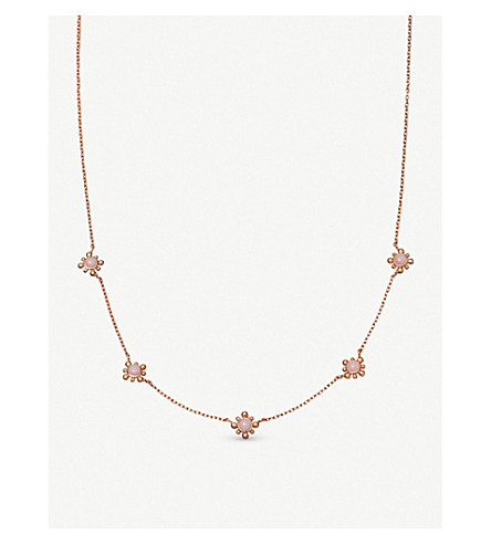 ASTLEY CLARKE Floris mini 18ct rose gold-plated vermeil and pink opal necklace