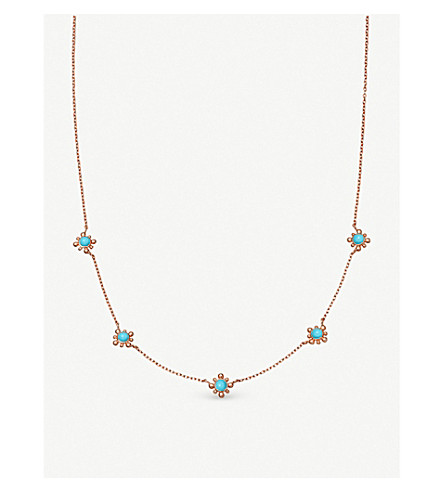 ASTLEY CLARKE Floris mini 18ct rose gold-plated vermeil and turquoise stone necklace