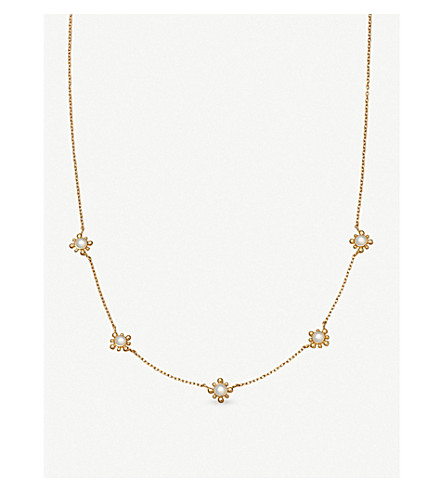 ASTLEY CLARKE Floris mini 18ct gold-plated vermeil and mother-of-pearl necklace