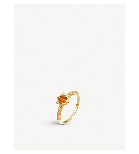ASTLEY CLARKE Tigers Eye Floris 18ct yellow-gold vermeil ring