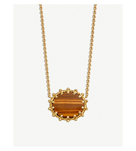 ASTLEY CLARKE Floris 18-carat yellow gold vermeil and Tigers Eye pendant