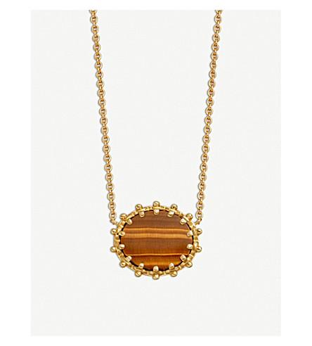 ASTLEY CLARKE Floris 18-carat yellow gold vermeil and Tigers Eye pendant
