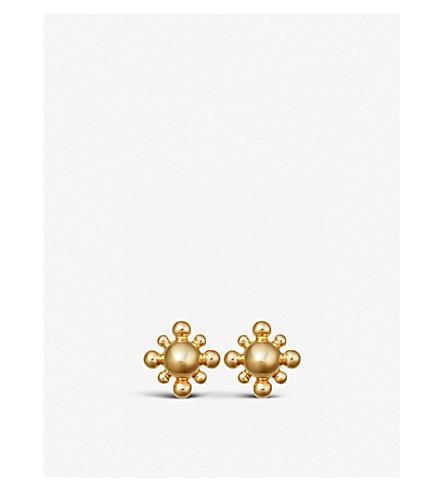 ASTLEY CLARKE Floris mini yellow-gold vermeil stud earrings