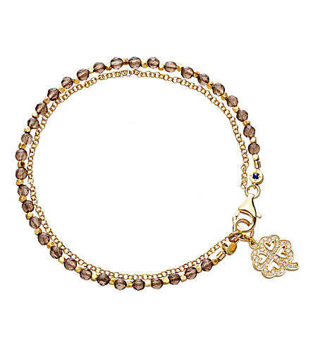 ASTLEY CLARKE Four leaf clover smoky-quartz friendship bracelet (Gold+with+brown
