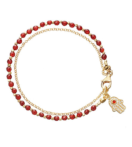 ASTLEY CLARKE Hamsa red agate friendship bracelet (Gold+with+red