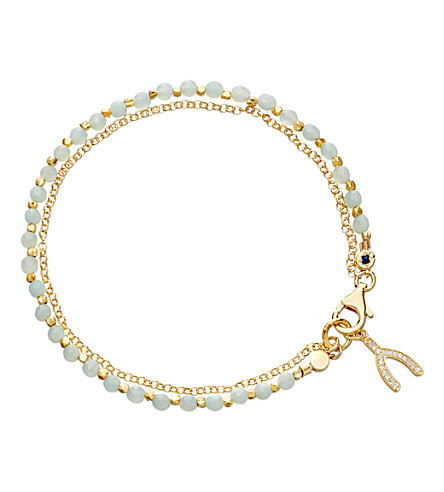 ASTLEY CLARKE Wishbone amazonite friendship bracelet (Gold+with+green