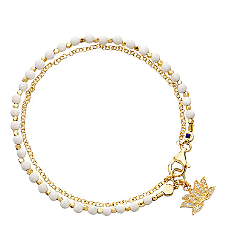ASTLEY CLARKE Lotus white agate friendship bracelet (Gold+with+white