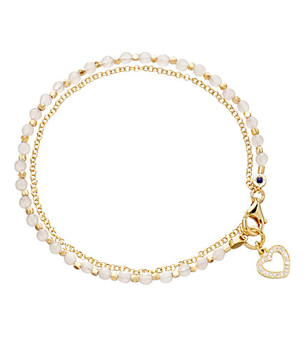 ASTLEY CLARKE Heart rose quartz friendship bracelet (Gold+with+pink