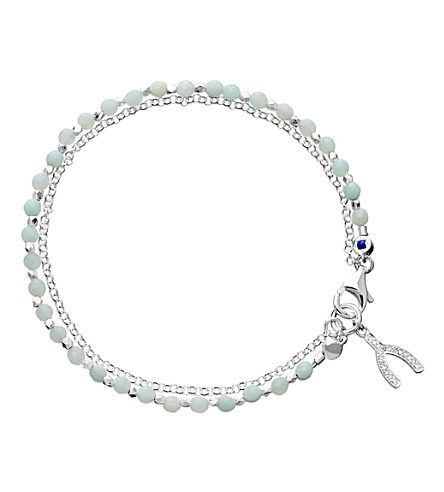 ASTLEY CLARKE Wishbone sterling silver amazonite friendship bracelet (Pale+blue