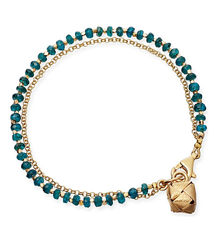 ASTLEY CLARKE Little Parcel apatite friendship bracelet (Gold+with+green