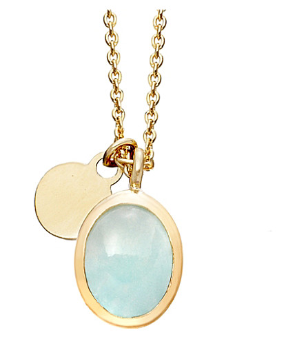 ASTLEY CLARKE Milky Aquamarine cadenza pendant necklace (Gold+with+aqua