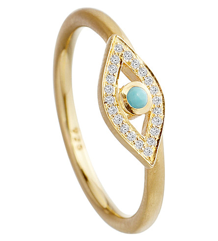 ASTLEY CLARKE Evil eye ring (Gold with turquoise