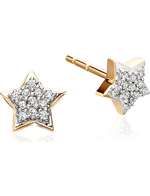ASTLEY CLARKE Diamond Star 14ct gold stud earrings