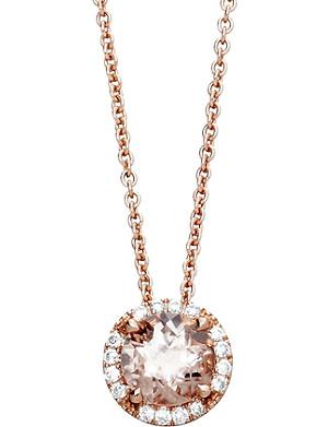 ASTLEY CLARKE 14ct rose gold morganite pendant necklace