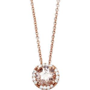 14ct rose gold morganite pendant necklace