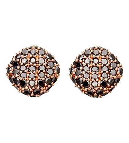 ASTLEY CLARKE Rose gold black diamond pillow earrings (Gold with diamond