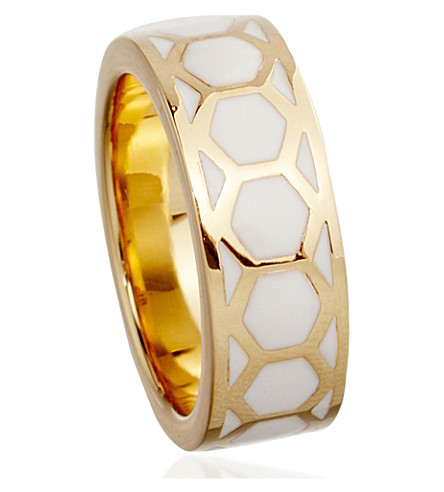ASTLEY CLARKE Prismic sea shell honeycomb ring (Gold with ivory