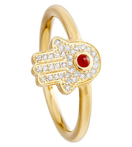 ASTLEY CLARKE Hamsa 18ct gold vermeil diamond ring (Gold with red