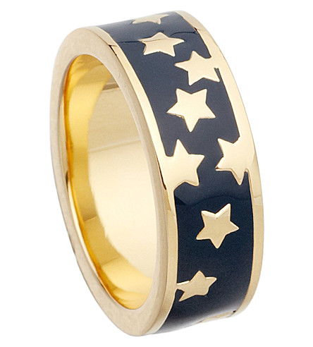 ASTLEY CLARKE Midnight Starshower 18ct gold vermeil stacking ring (Navy blue, gold