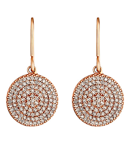 ASTLEY CLARKE Icon 14ct rose gold diamond drop earrings (Pink,+grey