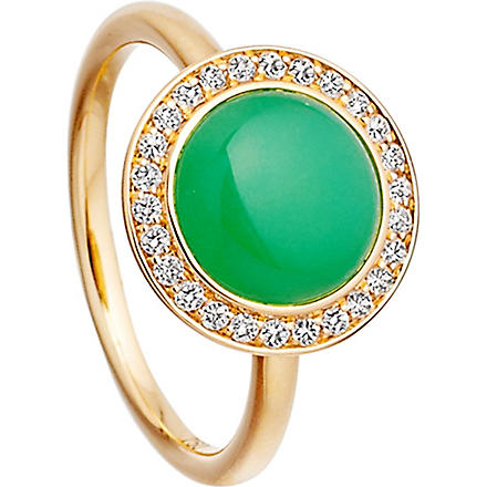 ASTLEY CLARKE Leah 18ct gold chrysoprase ring (Green, gold