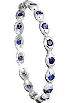 ASTLEY CLARKE 14ct white gold ring with sapphire drops
