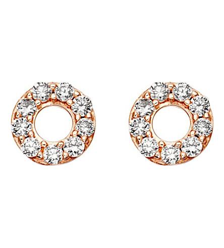 ASTLEY CLARKE Mini Halo 18ct rose-gold and diamond stud earrings (Pink,+grey