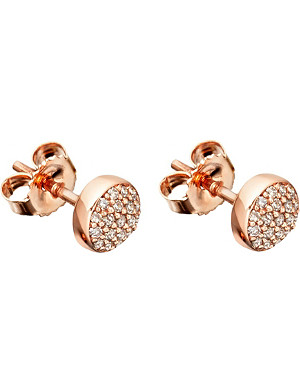 ASTLEY CLARKE 14ct rose-gold and diamond mini Icon earrings