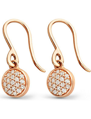 ASTLEY CLARKE 14ct rose-gold and diamond mini Icon drop earrings