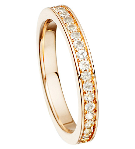 ASTLEY CLARKE 18ct Rose Gold 文梅尔和月光石 Eternity 戒指 (白色